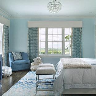 Esempio di una grande cameretta per bambini classica con pareti blu e parquet scuro