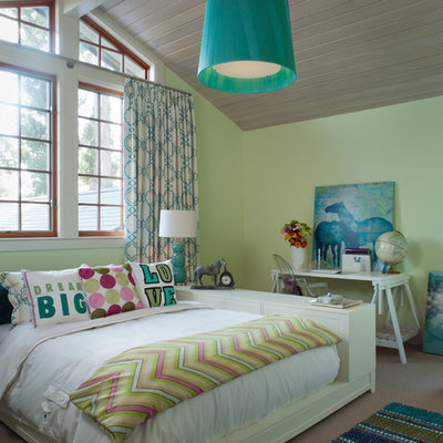 Kids' room - contemporary girl kids' room idea in San Francisco with green walls