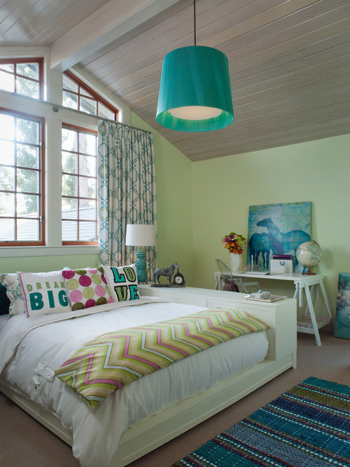 Contemporary Girl Kidsu0027 Room Idea In San Francisco With Green Walls