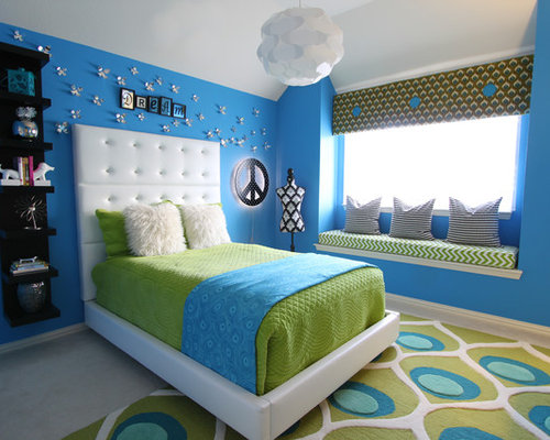 Contemporary Teen Room Idea For Girls In Dallas With Blue Walls And Carpet Part 81