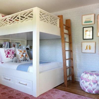 Kids' room - mid-sized transitional girl medium tone wood floor kids' room idea in San Francisco with gray walls