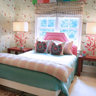 Kids' room - girl carpeted kids' room idea in Charlotte