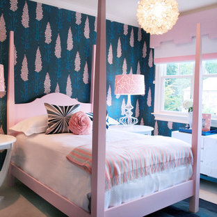 Photo of a kids' room for girls in Charlotte with multi-coloured walls.