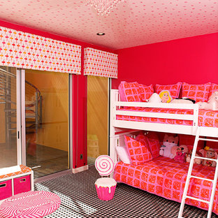 Inspiration for a contemporary girl carpeted kids' bedroom remodel in Phoenix with pink walls