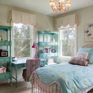 Elegant girl carpeted kids' room photo in Charleston with beige walls