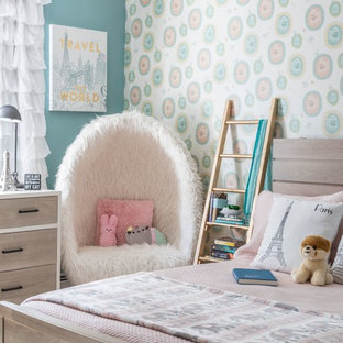 Kids' room - transitional girl kids' room idea in New York with multicolored walls