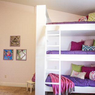 Inspiration for a mid-sized timeless girl carpeted kids' room remodel in Salt Lake City with multicolored walls