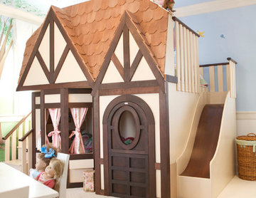Girls Dollhouse Playhouse Bed with Slide