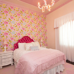 Inspiration for a romantic kids' room for girls in Miami with beige walls and dark hardwood flooring.