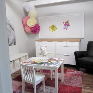 Transitional playroom photo in Edmonton with gray walls