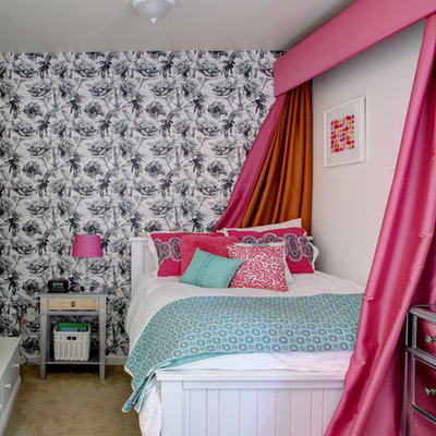 Kids' room - small contemporary girl carpeted and beige floor kids' room idea in Boise with white walls