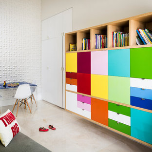 Playroom - large contemporary gender-neutral playroom idea in Miami with white walls