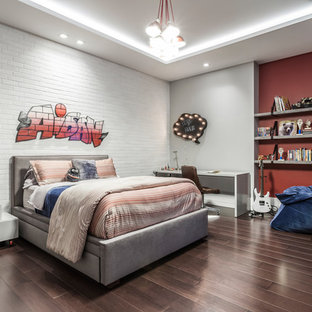 Example Of A Trendy Boy Dark Wood Floor And Brown Floor Kidsu0027 Bedroom  Design In