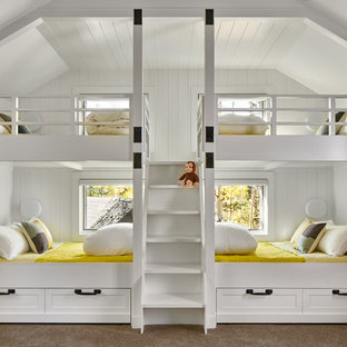 Inspiration for a mid-sized rustic gender-neutral carpeted and gray floor kids' room remodel in Denver with white walls