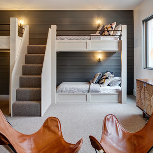 Inspiration for a transitional gender-neutral carpeted and gray floor kids' bedroom remodel in Other with gray walls