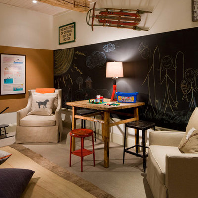 Childrens' room - rustic gender-neutral carpeted childrens' room idea in Denver with multicolored walls