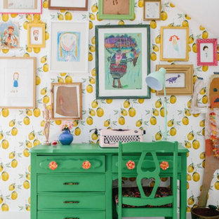 Example of a transitional medium tone wood floor and brown floor kids' room design in Other with multicolored walls