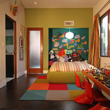 Green Walls and Pops of Color for a Fun Kid Room