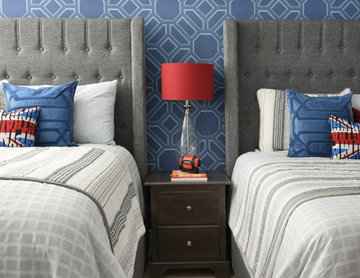 Grey and White Boy's Bedroom with Modern Upholstered Headboards & Punches of Red