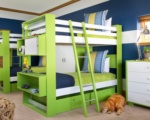 Trendy boy carpeted kids' room photo in Denver with multicolored walls - Seahawks Bedroom Home Design Ideas, Pictures, Remodel And Decor