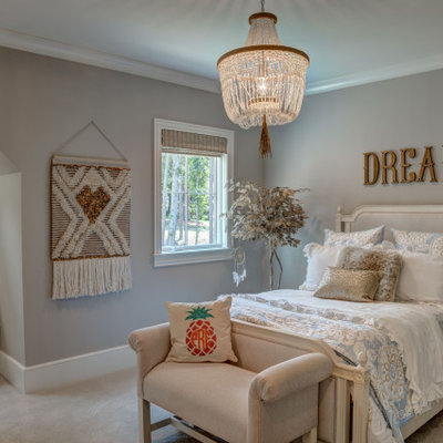 Elegant girl carpeted and gray floor kids' room photo in Charlotte with gray walls