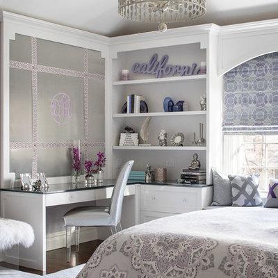 Kids' room - mid-sized transitional girl dark wood floor and brown floor kids' room idea in New York with purple walls