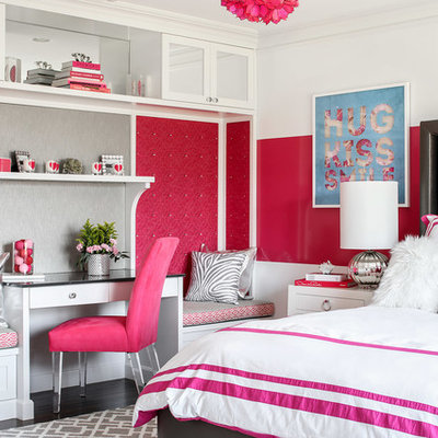 Kids' room - mid-sized transitional girl dark wood floor and brown floor kids' room idea in New York with pink walls