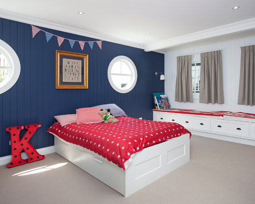 Inspiration For A Beach Style Kidsu0027 Bedroom Remodel In Brisbane With  Multicolored Walls