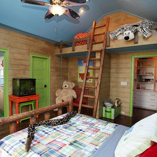 Inspiration for a traditional gender-neutral kids' bedroom for kids 4-10 years old in Charlotte with dark hardwood floors.