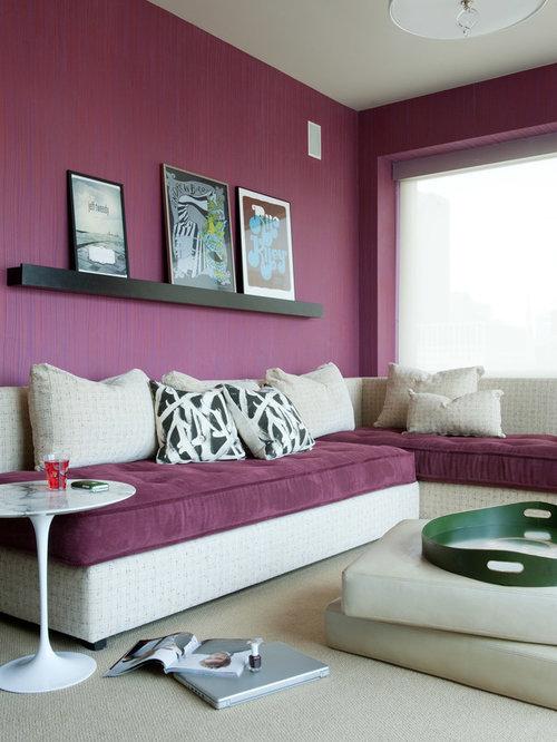 Petite chambre d 39 ado avec un mur violet photos et id es d co de chambres d 39 ado for Petite chambre d enfant