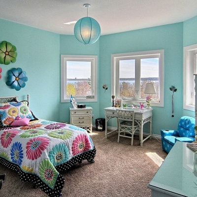 Elegant girl carpeted kids' room photo in Other with blue walls
