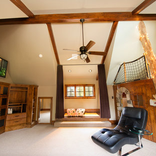 Kids' room - large rustic gender-neutral carpeted and white floor kids' room idea in Denver with white walls