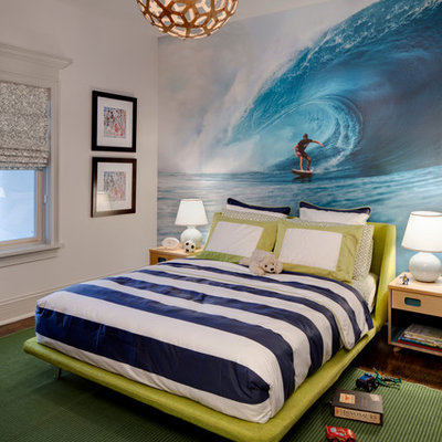 Kids' room - transitional kids' room idea in Chicago with multicolored walls