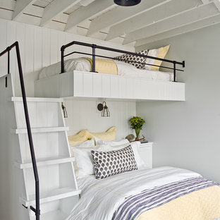 Inspiration for a country medium tone wood floor and brown floor kids' bedroom remodel in Chicago with gray walls