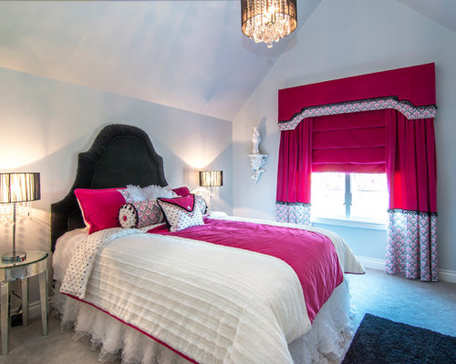 hollywood glam bedroom. Mid sized contemporary girl carpeted kids  bedroom idea in Dallas with gray walls Hollywood Glam Bedroom Houzz