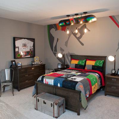 Elegant boy carpeted kids' room photo in Cincinnati with gray walls