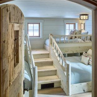 Inspiration for a rustic gender-neutral light wood floor and beige floor kids' bedroom remodel in Burlington with white walls