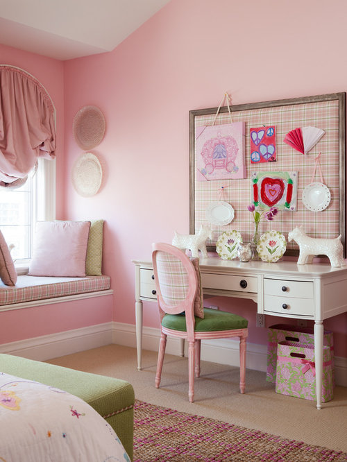 Traditional girl carpeted kids  study room idea in Toronto with pink walls. Pink Green Girls Rooms   Houzz