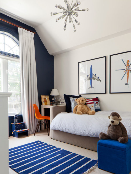 Inspiration For A Transitional Boy Carpeted Toddler Room Remodel In Toronto With White Walls