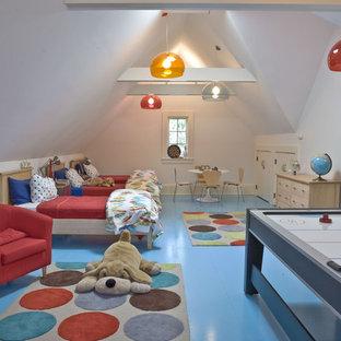 Immagine di una stanza dei giochi contemporanea con pavimento blu