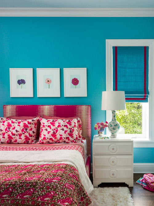 Inspiration for a contemporary girl dark wood floor kids  bedroom remodel  in Jacksonville with blue. Teal And Pink   Houzz