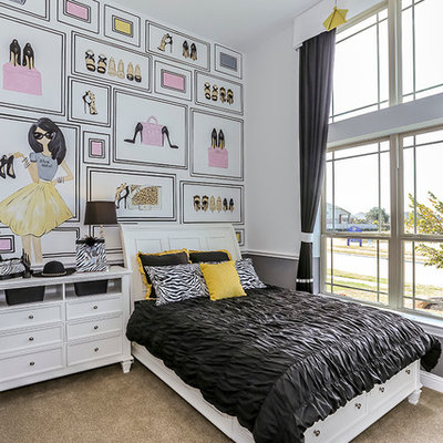 Kids' room - small girl carpeted kids' room idea in Houston with multicolored walls