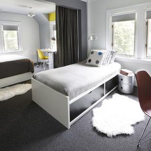 Foto de dormitorio infantil moderno, grande, con paredes grises, moqueta y suelo gris