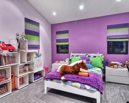 Inspiration For A Contemporary Girl Carpeted And Gray Floor Kidsu0027 Bedroom  Remodel In Orange County