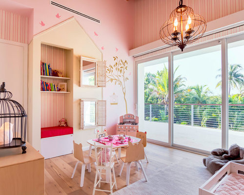 Transitional Girl Light Wood Floor And Beige Floor Kidsu0027 Room Photo In  Miami With Pink