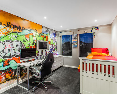 Mid sized trendy boy carpeted kids  room photo in Perth with multicolored  walls. Graffiti Bedroom   Houzz