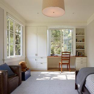 Imagen de dormitorio infantil tradicional, de tamaño medio, con paredes grises, suelo de madera clara y suelo beige