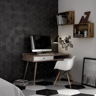 Esempio di una cameretta per bambini american style con pareti nere, pavimento con piastrelle in ceramica e pavimento grigio