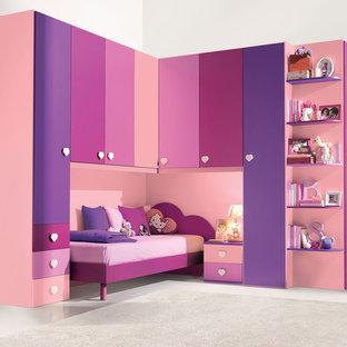 Kids' bedroom - small modern girl kids' bedroom idea in New York