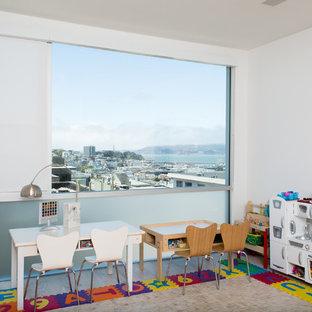 Foto de dormitorio infantil de 1 a 3 años, actual, con paredes blancas